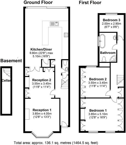 Victorian terraced house floor plan for Victorian house plans uk